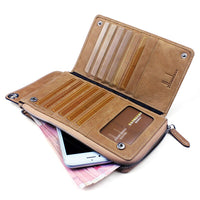 High Quality Men' s zipper wallet cowhide phone wallets multi-functional hand bag cow leather purse A375
