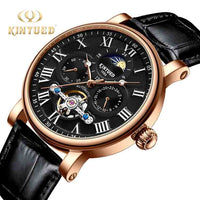 KINYUED Fashion Brand Tourbillon Mechanical Watch Men Automatic Waterproof Skeleton