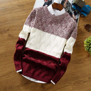 Men Sweater Male Jumper Korean Version Color Matching Sweater Fashion Round Neck