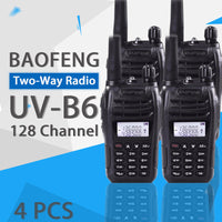 (4 PCS)Black BaoFeng Protable Radio UV-B6 Dual Band UHF VHF Two Way Radio Walkie Talkie Free Shipping