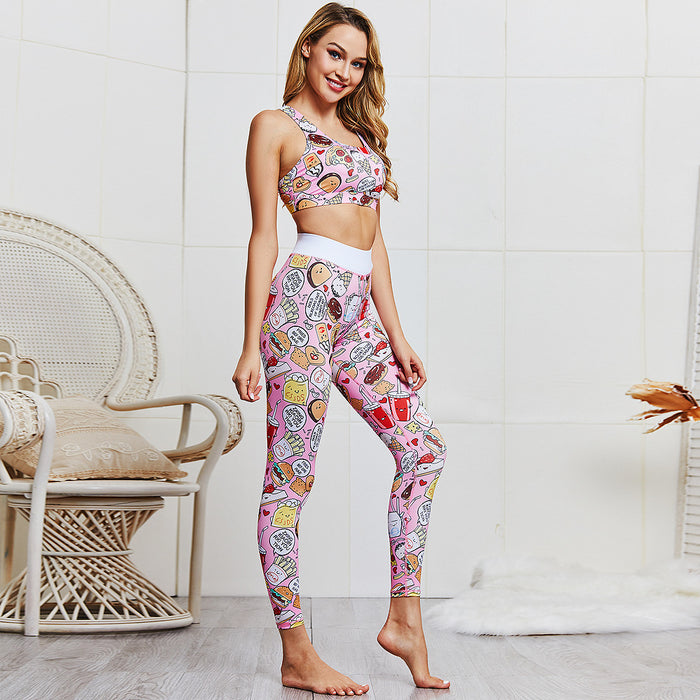 2019 Women Sportwear Cartoon Print Yoga Set 2 Pieces Fitness Tops & Yoga Shorts Sport Fitness
