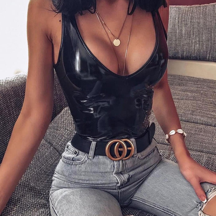 Ellolace Leather Black Bodysuit Women Female 2019 V-Neck Backless Jumpsuit Sexy Bodycon