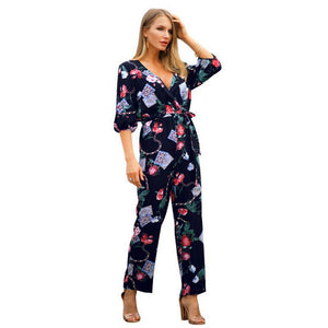 NFIVE Brand 2019 Women's Thin Loose Jumpsuits Spring Summer New Fashion Print Sexy V-neck Bandage Puff Sleeve Cotton Jumpsuit