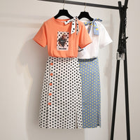 2019 Summer Women Polka Dot Print 2 Piece Clothing Set Character Pattern Bow Tshirt Top+Button Split Bodycon Mid Calf Skirt Suit