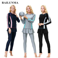 BAILUNMA Burkinis Muslim swimwear Islamic Swimsuit Full Cover Long Sleeve Hijab Muslim Swim Wear Women Swimsuits Arab H1010