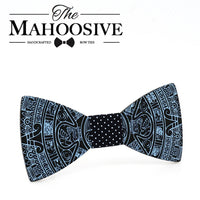 MAHOOSIVE New Style Fashion Handmade Wood Wedding Bowtie Gravata Ties For Men Clothing Accessories Mens Printing Wooden Bow Tie