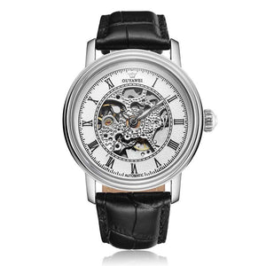 Golden Skeleton Dial Mechanical Men Watches OUYAWEI Automatic  Mens Watch Top Brand Luxury Male Clock Genuine Leather Wristwatch