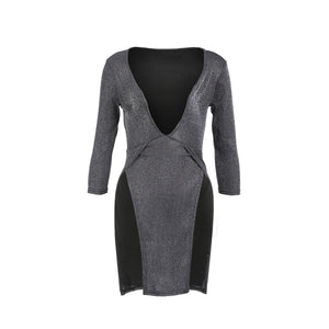 Ladies Women Spring Sexy Long Sleeve V-neck Sparkly Sequin Glitter Evening Party Dress Autumn