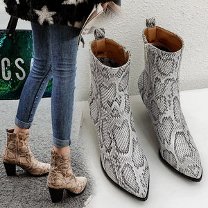 Women Snakeskin Leopard Toe Zip Thick Pointed Boots Shoes High Shoes Boots Woman winter Lady Snow Boots Fashion Classic Hotsell