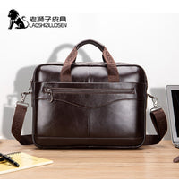 LAOSHIZI NEW Men's Briefcase Male Genuine Leather Men Bags Messenger Bag Leather Laptop Bag for Men Computer/ Document Bags