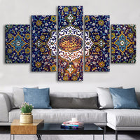 Islamic Flower Tapestry Wall Art 5 Pieces Islamic Wall Art Canvas Paintings Posters Wall Art Pictures Living Room Decor Frame