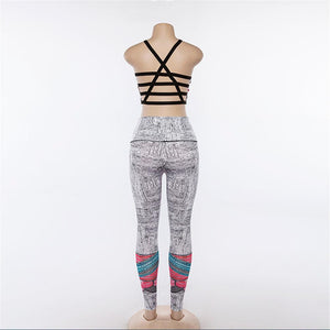 Sport Suit Women Sexy Printed 2 Piece Yoga Set Crop Bra+High Waist Long Pants Workout Set Sports Wear For Women Gym Clothing