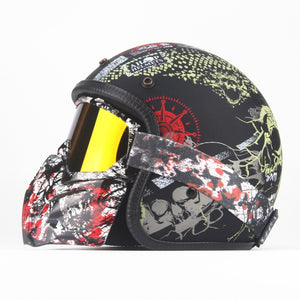 3/4   Helmets Motorcycle Retro open face vintage Racer Cascos Moto  motorcycle helmet  with goggle mask