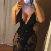 New Arrival Sexy Women Mesh Dress Lace Floral Ladies Sexy Evening Party Package Hip Dress Deep V Neck Sexy Pencil Dress