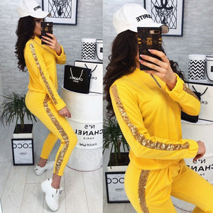 Yellow Sequin Glitter Tracksuit Women Autumn Two Piece Set Baseball Jacket and Pants 2 Piece Set Women Outfits Sportswear Ladies