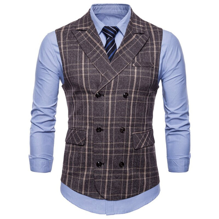 Suit Vest Men 2019 Sleeveless Double Breasted Waistcoat Slim Fit Tweed Gilet Men Business