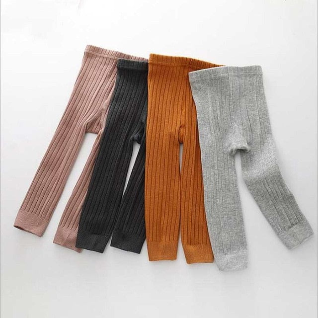 2018 Hot-selling Baby Girl Stretch Leggings Pants Spring and Autumn Toddler Child Knitting Trousers pink color
