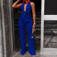 Multi-way Sexy Halter Deep V Neck Jumpsuits 2018 New Night Club Wear Sleeveless Women Lace Up Bandage Wide Leg Playsuit Overalls