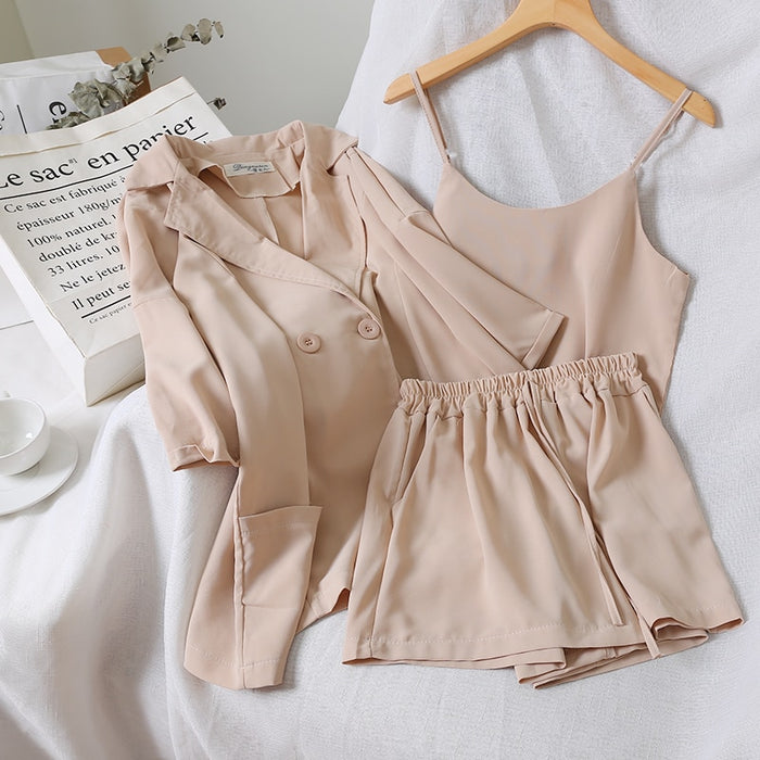 2019 Chic Vest +Jacket +simple Pure Color Elastic Waist Shorts Three-piece Suit 3 Piece Outfits