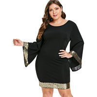 Rosegal Plus Size Office Party Work Dress Women Sequins Long Flare Sleeve V Neck Bodycon Dress Female Vestidos Big Size Clothing