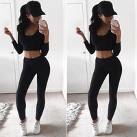 Sexy Women Yoga Set 2PCS Gym Fitness Running Workout Long Sleeve Crop Top Pants Leggings Clothes Tights Sportswear Activewear