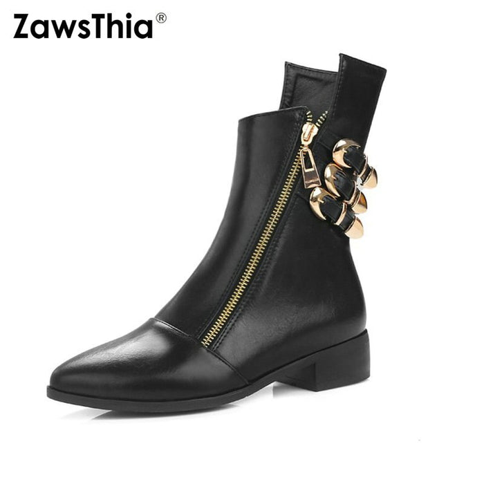 ZawsThia Autumn Winter Chunky Thick Square Low Heel Woman Shoes Punk Zipper Metal Buckle