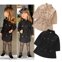Spring Autumn Jackets For Girls Pure Color Coat Children Zipper Outerwear Baby Windbreaker Handsome Black Tops 2-7Y