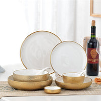 1pcs Nordic Style Ceramic Gold Plate Creative Porcelain Dish Soup Rice Bowl Set Snack Dessert Dinner Plate Cake Tray Tableware