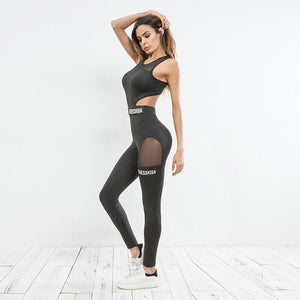 Black Yoga Jumpsuit Mesh Push Up Yoga Jumpsuit Fitness Workout Sport Jumpsuits Seamless Training Clothes Running Sportwear