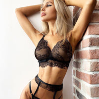 Sexy Temptation Underwear Women Black Lace Bra Set Sexy Lingerie lenceria mujer exotic Sleepwear Thong Garter Ladies Black Sets