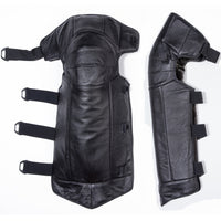 Motorcycle long full Calf COW Leather kneepads Winter waterproof Knee pads Skiing skating