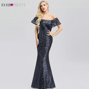 Ever Pretty Sexy Navy Blue Evening Dresses Long Sequined Off The Shoulder Ruffles Elegant Formal Party Dresses EP00920NB Abiye