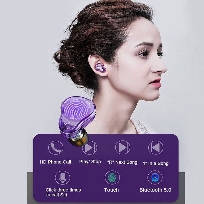 TWS Bluetooth 5.0 Touch Earphones Running Headset True Wireless Bluetooth Stereo Headphone