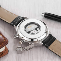 NEW Fashion OUYAWEI luxury Brand Automatic Mechanical Mens Watch Men Wristwatches leather Band Casual Analog Watch Orologio Uomo