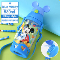 Disney children press the cup handle baby with straw leak-proof plastic cup flip student resistance