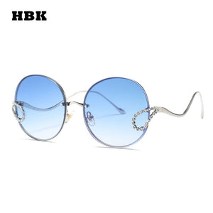 HBK 2019 Luxury Ladies Rhinestone Sunglasses Women Italy Brand Designer Rimless Round Big Sun Glasses Men Oculos De Sol Feminino