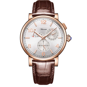 Luxury Men  Leather Strap Calendar Rose Gold Case Genuine  Analog Automatic