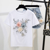 Fashion Cotton T-Shirt Tops + Short Jeans 2 Pieces Sets 2020 New Summer Designer Women's