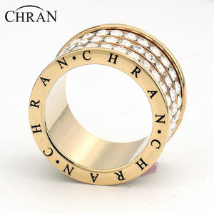 Chran Fashion 3 Pave Full Crystal Big Wedding Rings for Women Romantic Cubic Zirconia Ring Bague Femme Gold-Color Ring Female