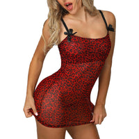 2019 Women Leopard Print Trim Lingerie Babydoll Sexy Mini Dress + G-String Bow Design Lace