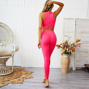 Back Zipper Design Sport Suit Women Fitness Tracksuit Breathable Running Sportswear Solid Gym Clothing Workout Wear Yoga Set