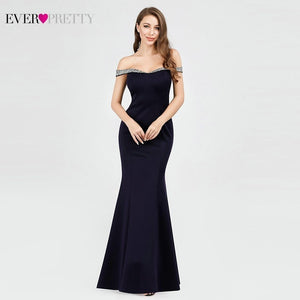 Navy Blue Long Evening Dresses 2019 Ever Pretty EP07941NB Mermaid Sequined Boat Neck Off The Shoulder Elegant Formal Party Gowns
