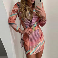 Elegant Autumn Winter Colorful Striped Print Blazer Dress Women OL Workwear Chic Streetwear Formal Party Dress