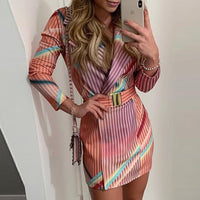 Elegant Autumn Winter Colorful Striped Print Blazer Dress Women OL Workwear Chic