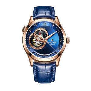 New Reef Tiger/RT Casual Automatic Watches for Men Rose Gold Blue Dial Watch Leather Strap