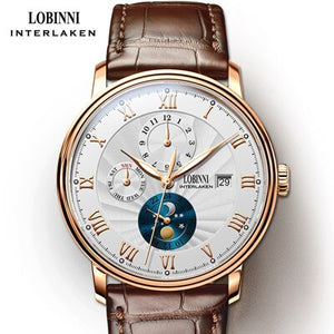 New LOBINNI Switzerland Men Watches Luxury Brand Wristwatches Seagull Automatic