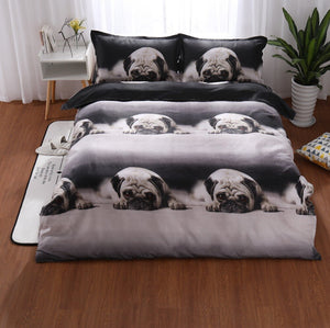 Animal housse de couette 3D French dog bedding sets duvet cover king size dekbedovertrek 2 persoons bed linen -juego de cama-