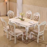 dining table natural marble 1.5m table set with 6 chairs