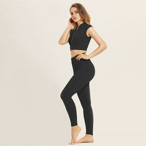 Women Yoga Set Gym Clothing Ombre Seamless Leggings+Cropped Shirts Workout