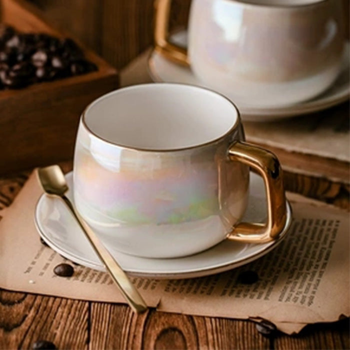 LEKOCH Aurora pearl glaze Ceramic Afternoon Black Tea Cups And Saucers With Spoo